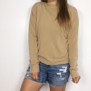 VINTAGE | Camel Brown Mock Neck Knit Sweater